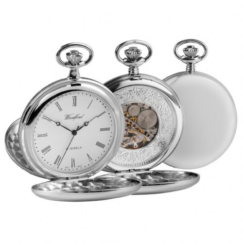 Mechanical Chrome Plated Polished Pocket Watch With Chain